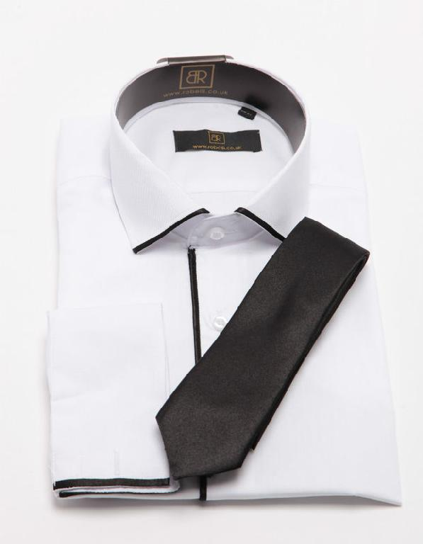 See Buy Smile :) - MEN'S WHITE SHIRT WITH BLACK TRIM NEW S M L XL XXL