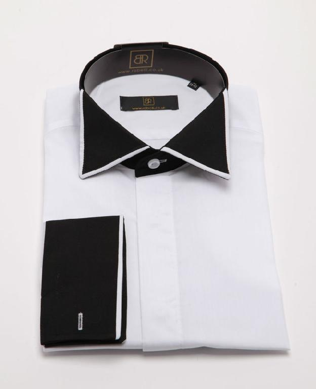 Mens Black Shirt With White Collar
